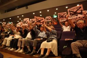 「オスプレイ ノー」と950人の参加者がいっせいに意思表示