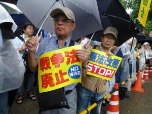 〈「戦争法廃止」「憲法改悪STOP!」の強い意志が=撮影・藤田観龍〉